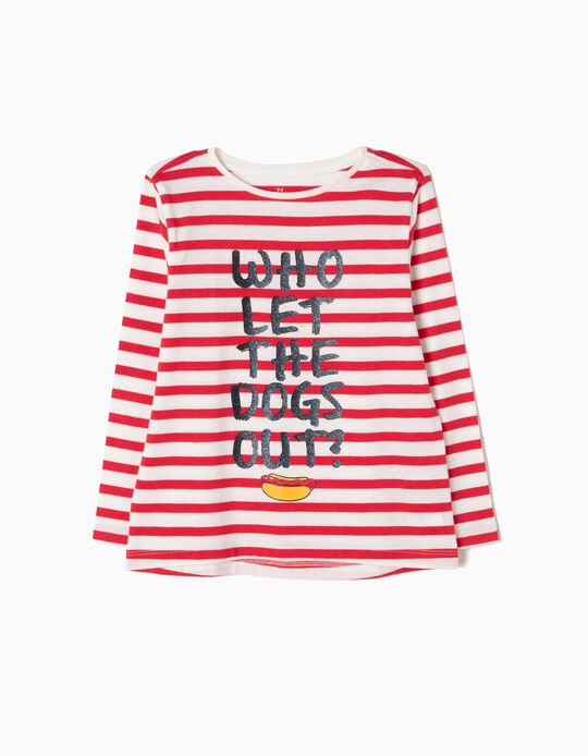 Striped Long-Sleeved Top, Hot Dog