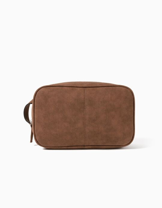 Textured Leather Toiletry Bag, for Men