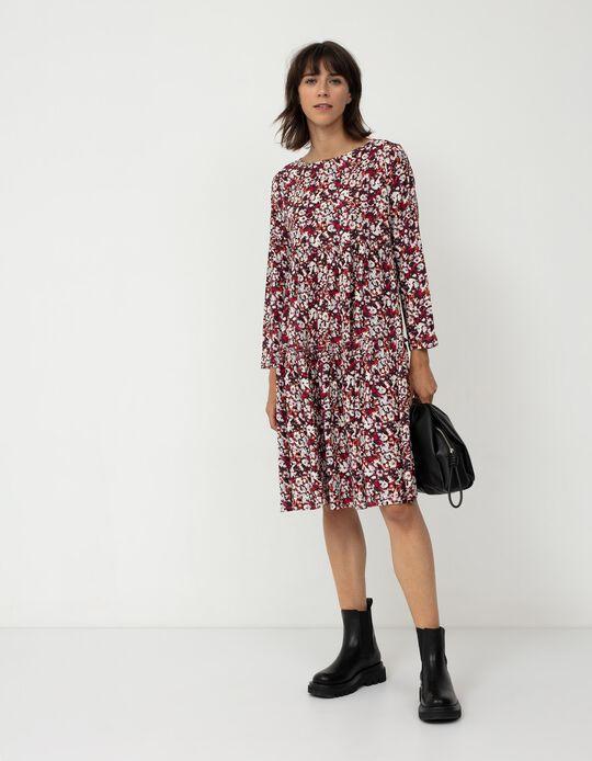 Vestido Floral, Mulher, Bege