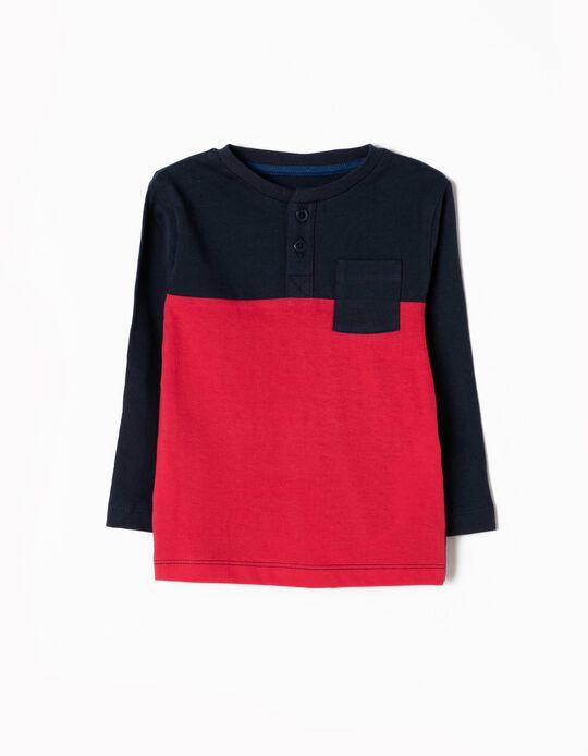 T-shirt Manga Comprida Azul e Vermelho