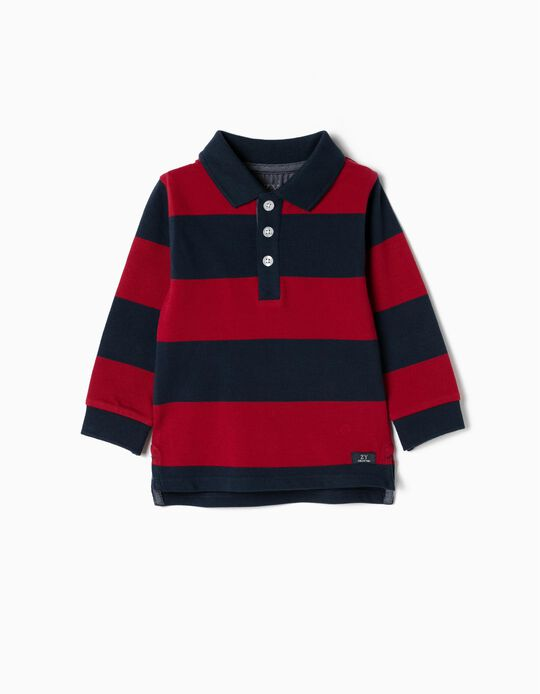 Long-sleeve Polo Shirt for Baby Boys 'Stripes', Blue/Red