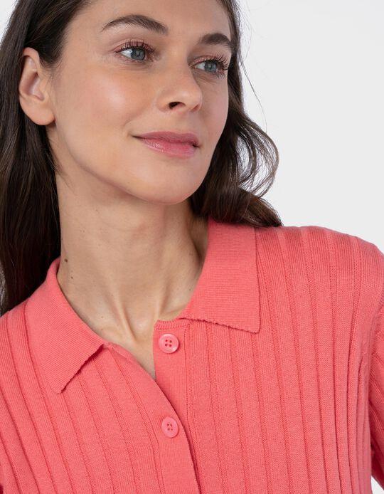 Rib Knit Polo Shirt for Women