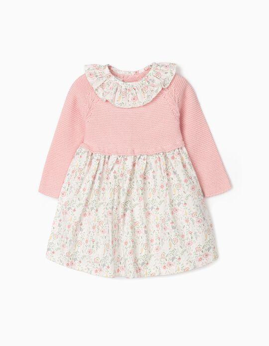 Vestido Combinado para Bebé Menina, Rosa/Branco