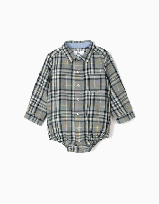 Check Bodysuit-Shirt for Newborn Boys, Blue