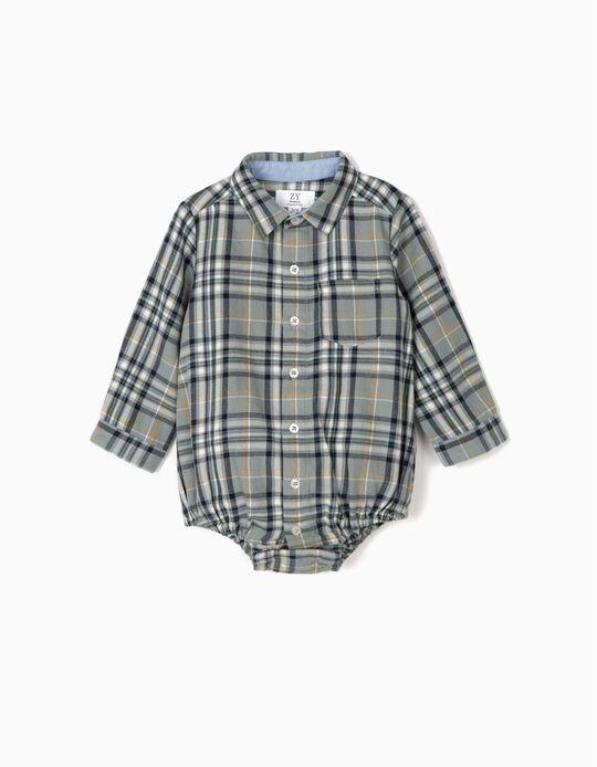 Body-Camisa Xadrez para Recém-Nascido, Azul