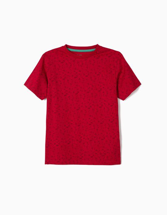 T-shirt Vermelha com Padrão, Menino
