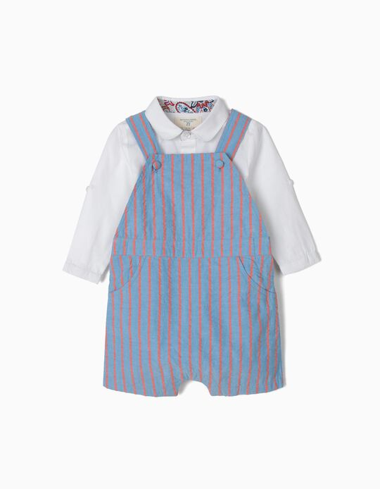 B&S' Dungarees and Bodysuit-Shirt for Newborn Babies, Blue and White