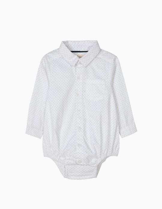 Body-Camisa Branco Pintinhas