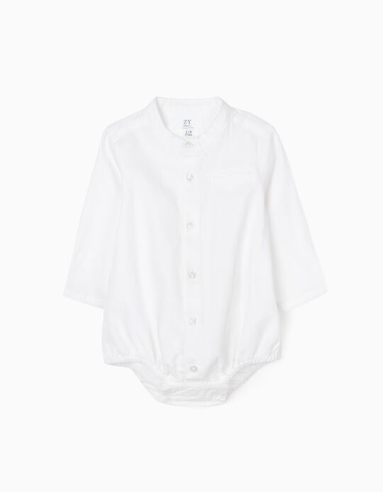 Shirt-Bodysuit for Newborn Baby Boys, White
