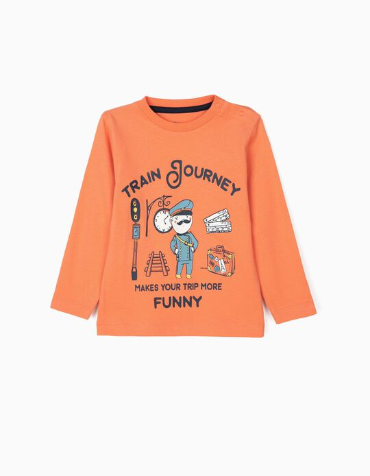 T-shirt Manga Comprida para Bebé Menino 'Train Journey', Laranja