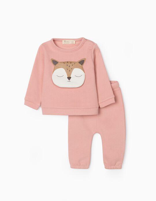Tracksuit for Newborn Baby Girls, 'Cute Fox', Pink