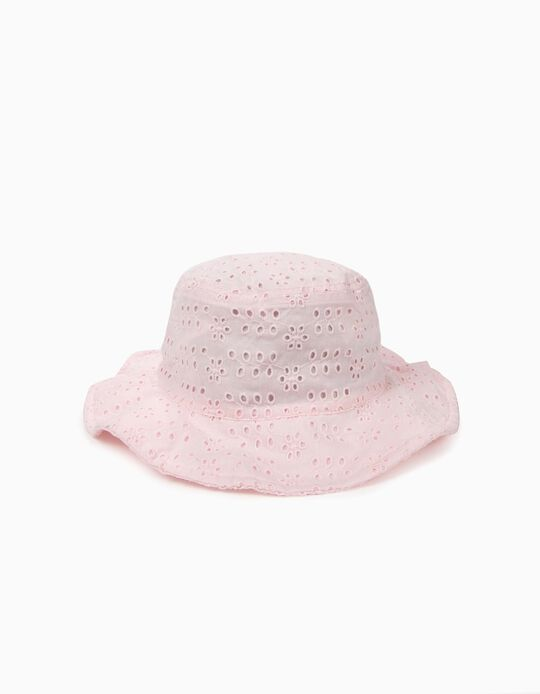 Hat with Broderie Anglaise for Girls, Pink