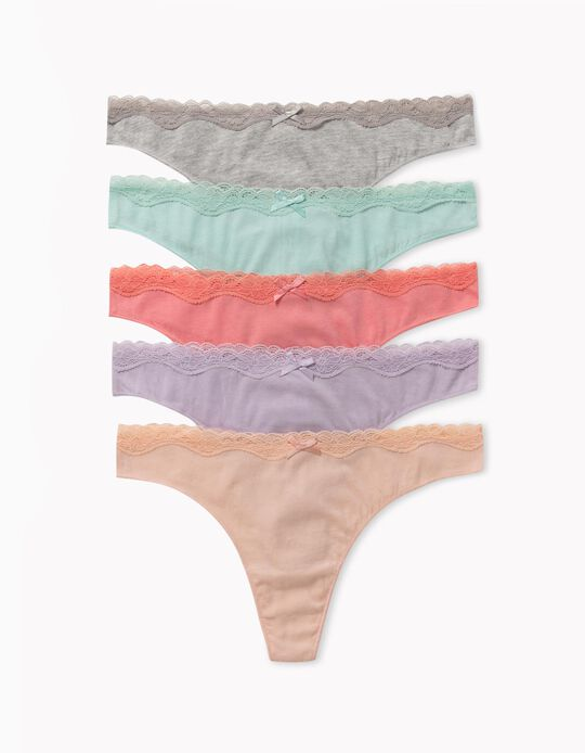 5 Cotton Thongs, for Women