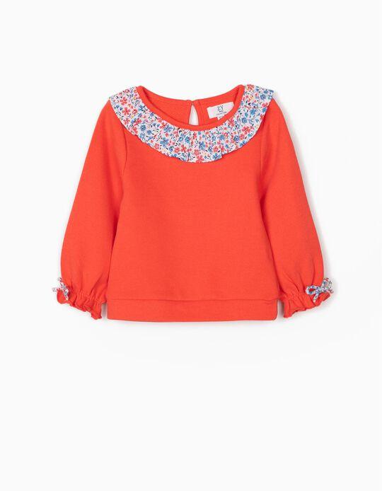 Sweatshirt com Gola Florida para Bebé Menina, Coral