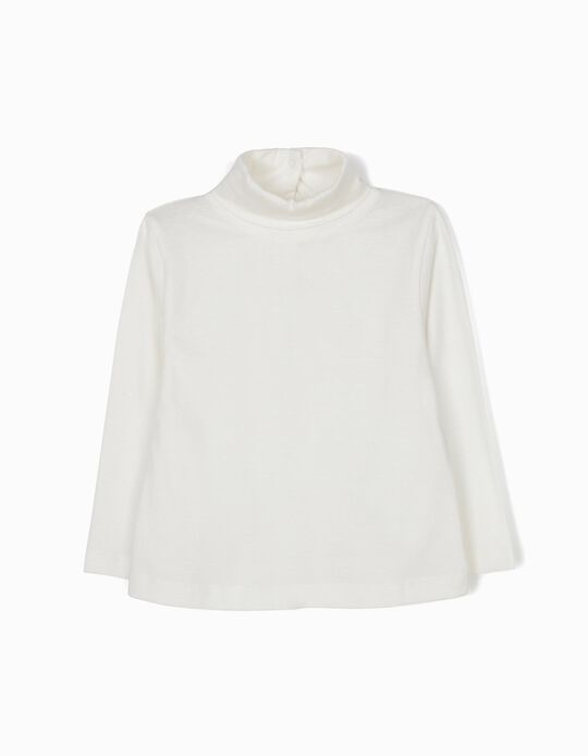 White Long-Sleeved Top with High Neck