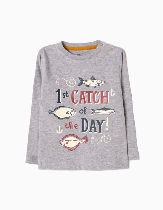 Grey Long-Sleeved Top, Fish