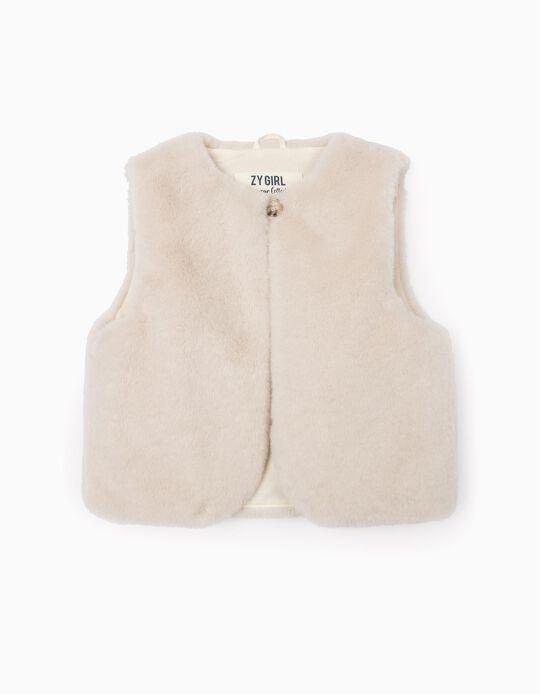 Fur Vest for Girls, Beige