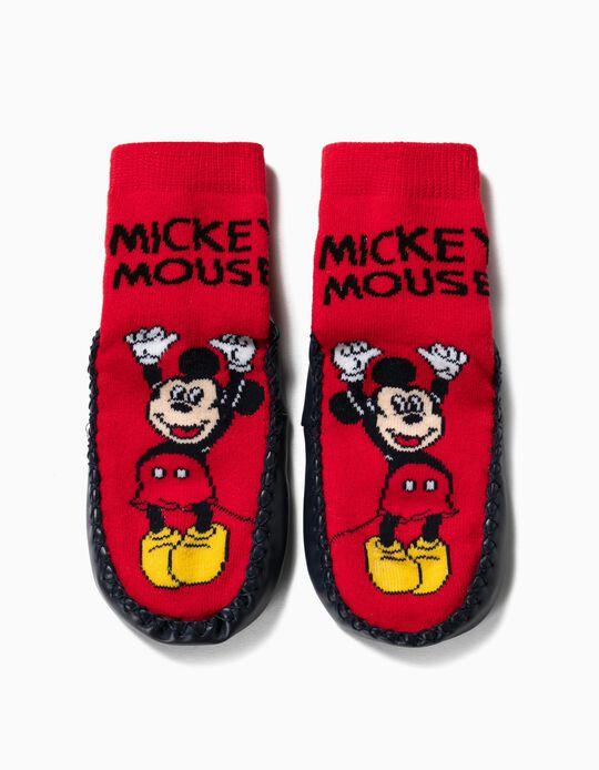 Meias-Pantufa Antiderrapantes para Menino 'Mickey', Vermelho