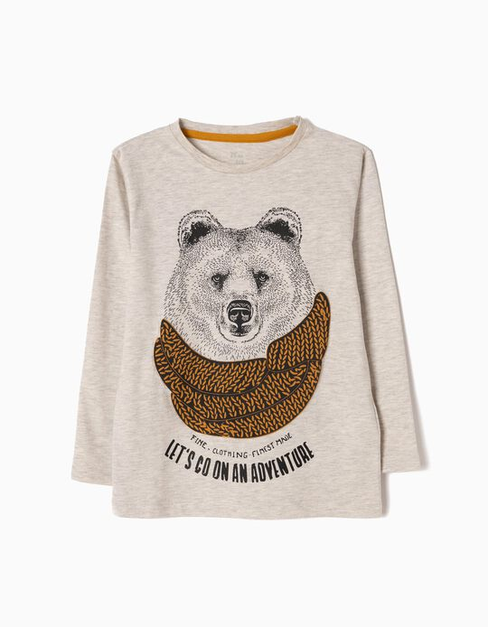 T-shirt Manga Comprida Adventure Bear Cinzenta