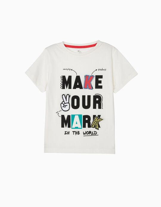 T-shirt para Menino 'Make Your Mark', Branco