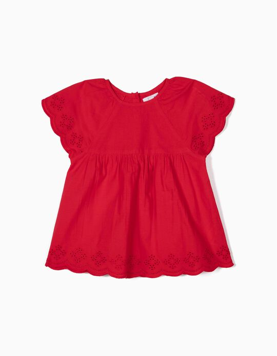 Broderie Anglaise Blouse for Girls, Red
