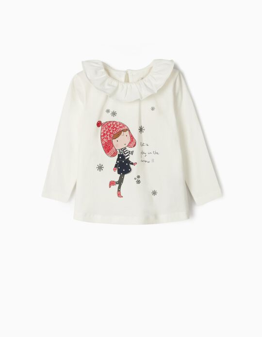 Long Sleeve 'Snow' Top for Baby Girls, White