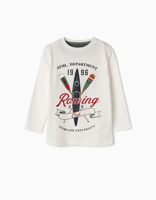 Long-sleeve Top for Boys 'Rowing Club', White