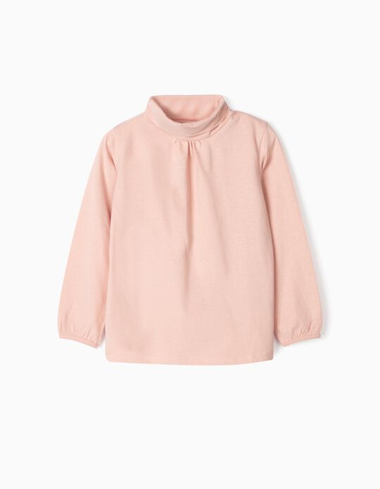 Long-sleeve Top with Turtleneck for Girls, Pink