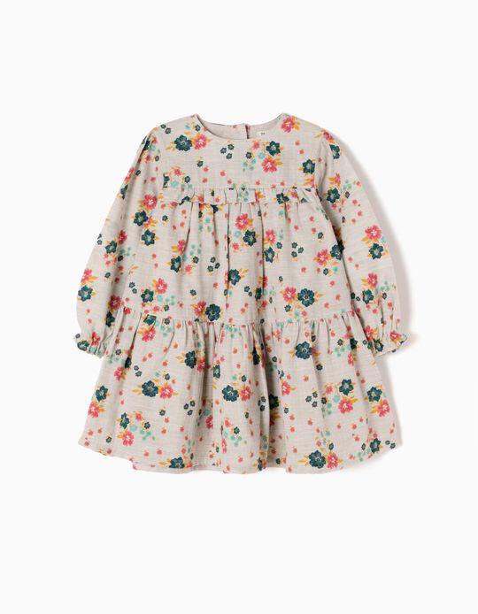 Vestido Bebé Menina Flores e Folhos