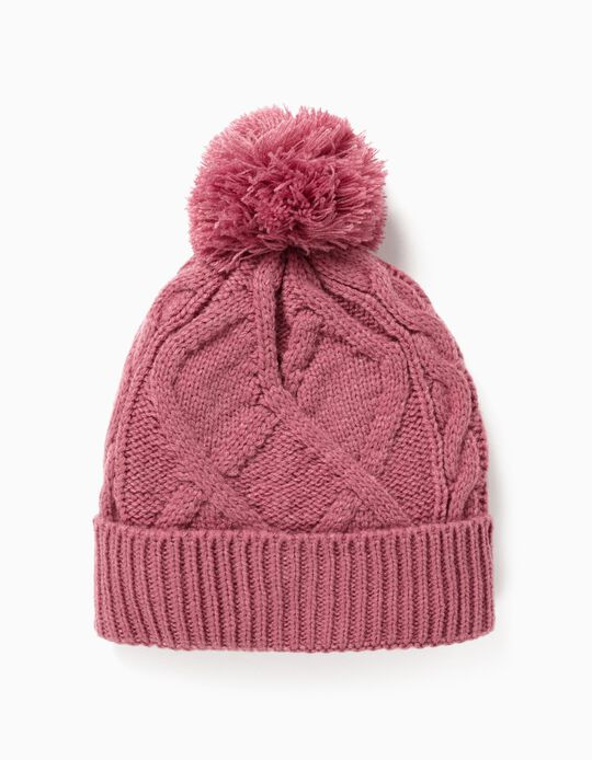 Knit Beanie for Baby Girls, Pink