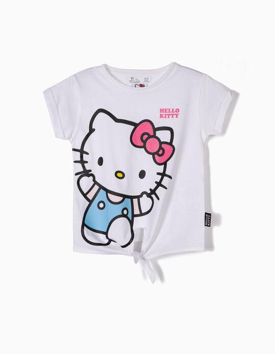 T-shirt para Menina 'Hello Kitty' com Nó Frontal, Branco