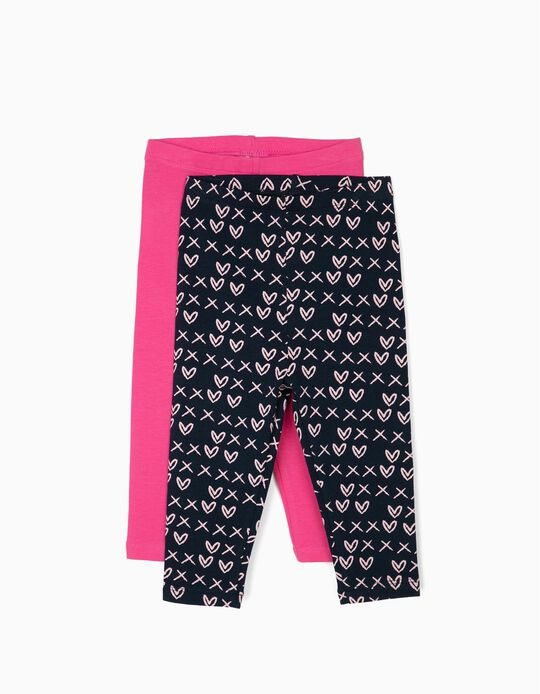 2 Leggings para Bebé Menina 'Hearts', Azul e Rosa