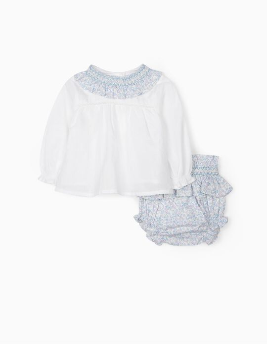 Floral Blouse & Shorts for Newborn Baby Girls, Blue/White