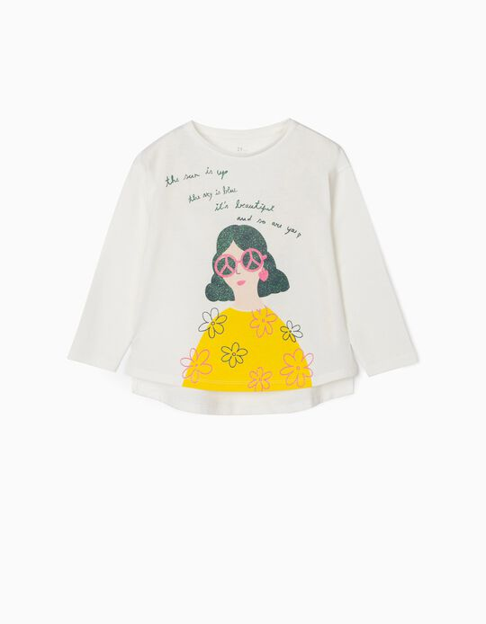 Long Sleeve Top for Girls, 'Beautiful', White