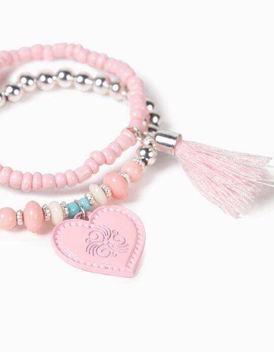 2-Pack Beaded Bracelet for Girls, Pink/Silver
