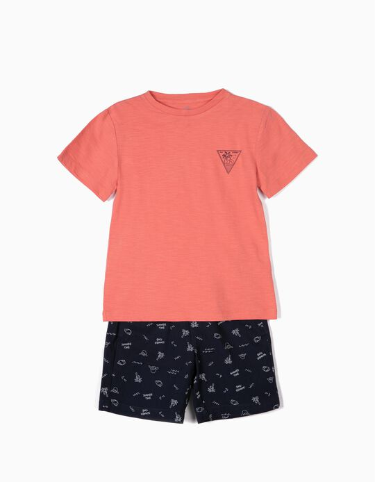 T-shirt and Shorts for Boys 'Summer Time', Coral/Blue