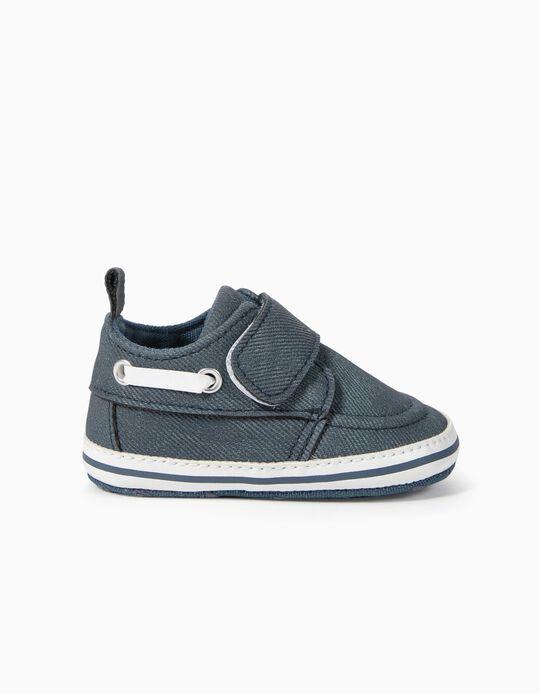Sapatos Encerados para Recém-Nascido, Azul Escuro