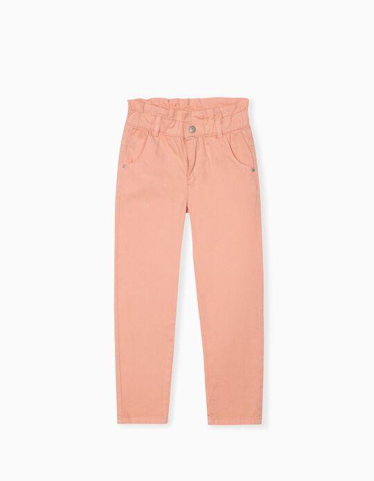 Twill Trousers, Girls, Salmon