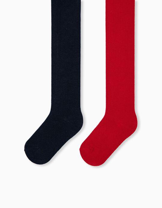 2 Rib Knit Tights, Kids, Dark Blue/ Red