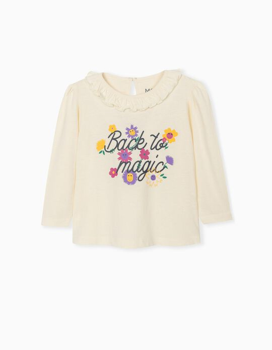 Long Sleeve Top for Baby Girls, White