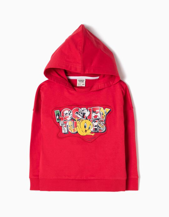 Sweatshirt com Capuz Looney Tunes Vermelha