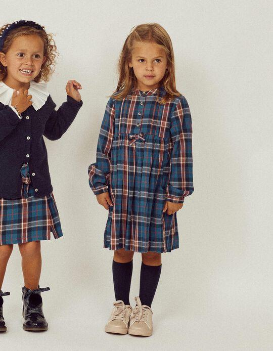 Vestido Xadrez para Menina 'B&S', Azul/Laranja