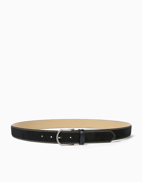Suedette Belt for Men, Dark Blue
