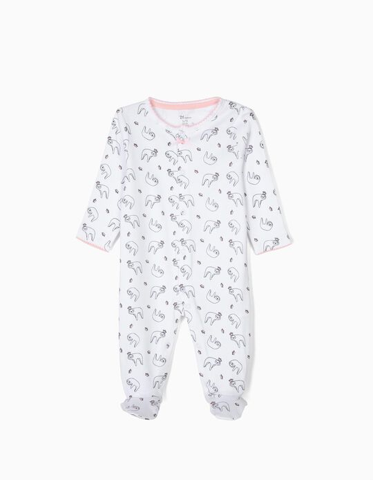 'Queen Sloth' Babygrow for Newborn Girls, White