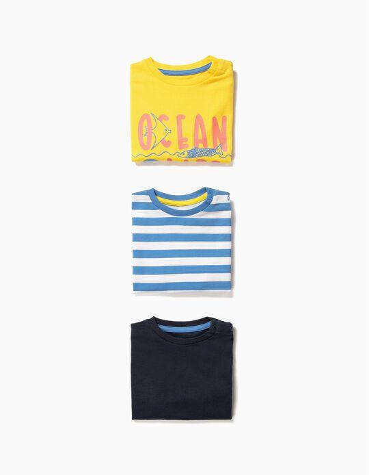3 T-shirts para Bebé Menino 'Ocean Life', Multicolor