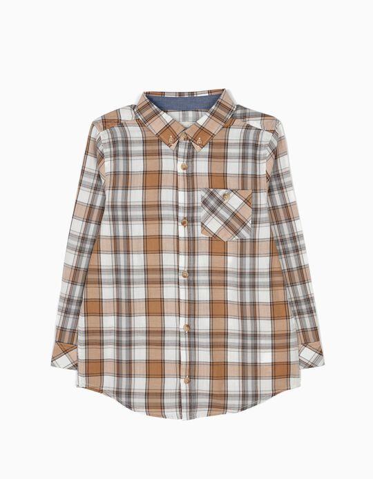 Camisa Xadrez com Bolso Bege