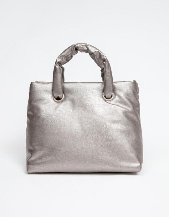 Padded Handbag for Women, Silver