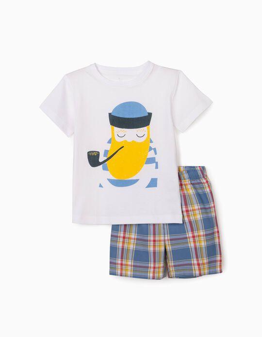Pyjamas for Boys, 'Sailor', White/Chequered