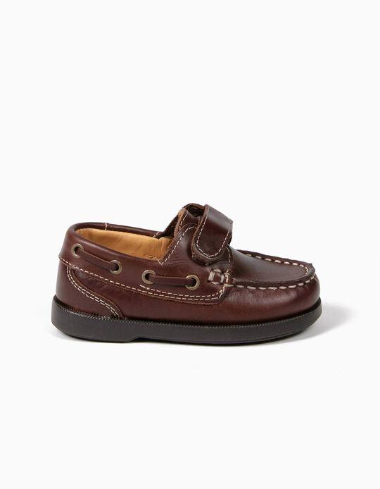 Sapatos Vela Bebé Menino Pele Castanhos