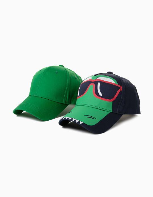 2 Caps for Children, Dark Blue/ Green